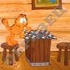Garfield. Игра в шашки